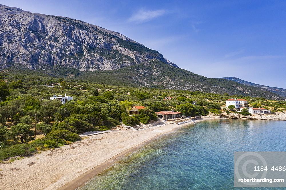 Aerial of Limnionas beach, Samos, Greece