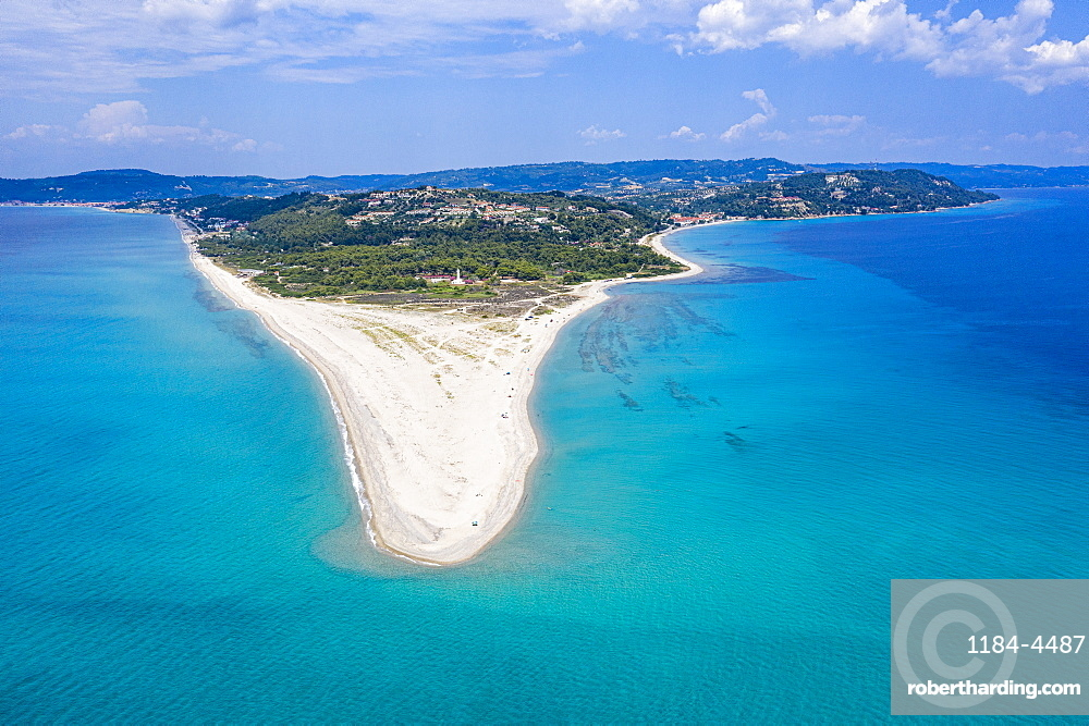 Aerial of Possidi beach, Kassandra, Possidi cape, Chalkidiki, Greece (drone)