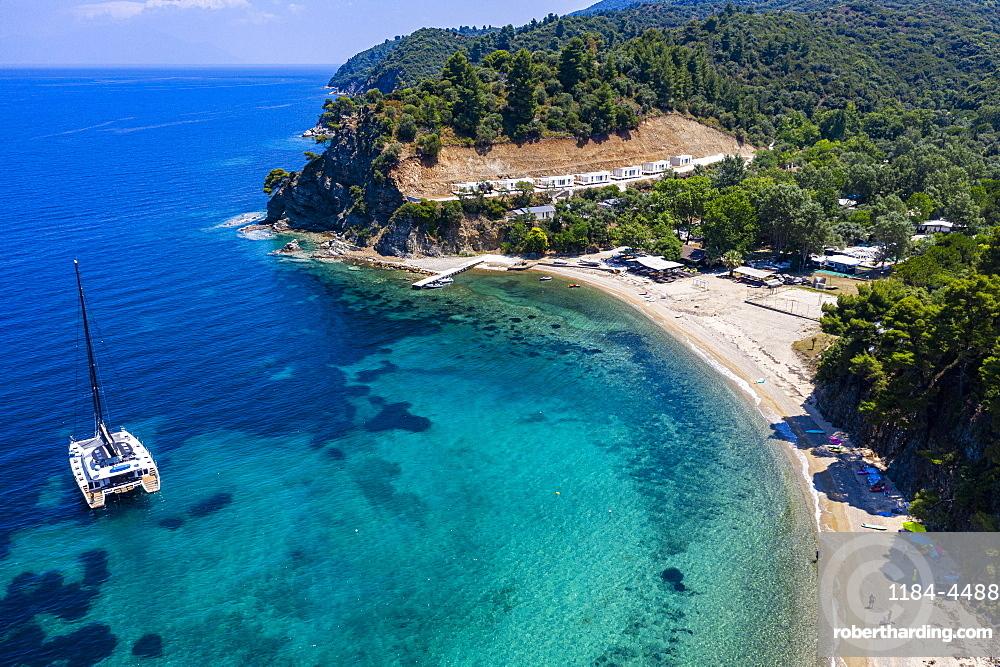 Aerial of Zografou Beach, Sithonia, Greece (drone)