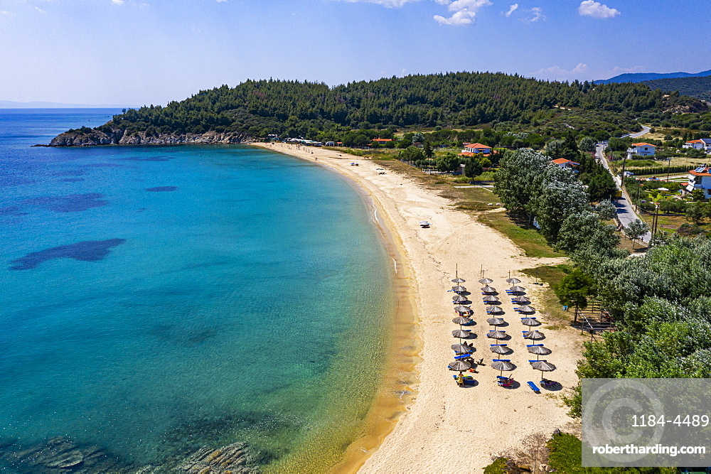 Aerial by drone of Destenika beach, Sithonia, Greece, Europe