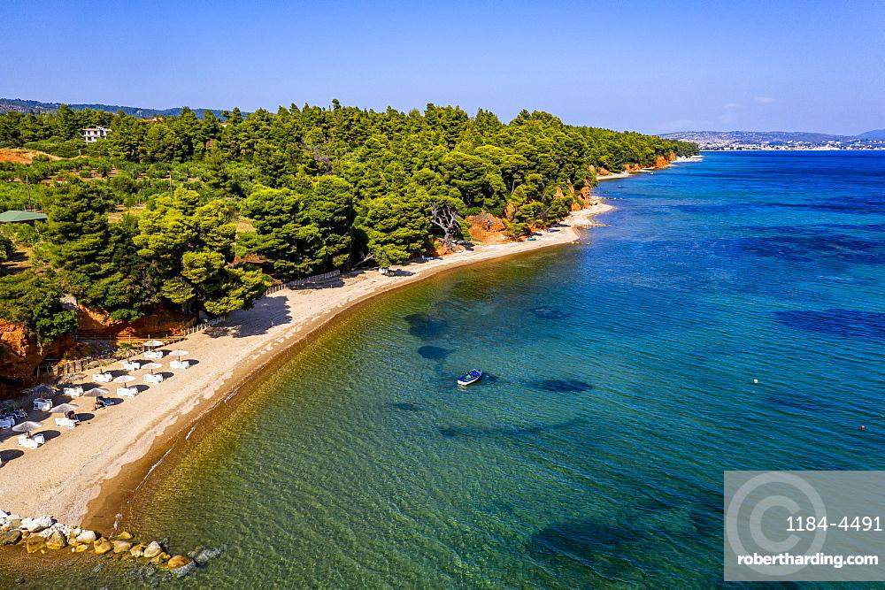 Aerial of Metamorfosi Beach, Sithonia, Chalkidiki, Greece (drone)