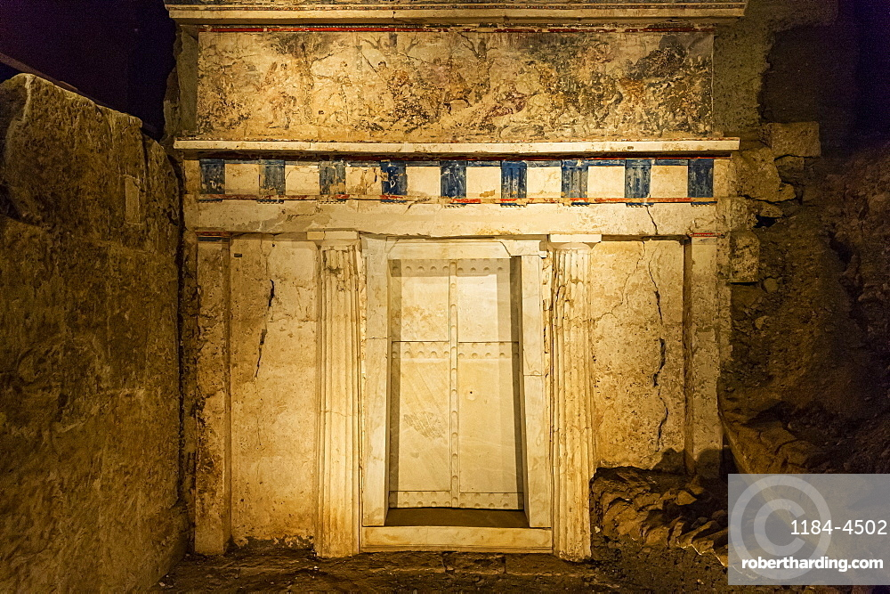 Entrance to the tomb of Philippe II, Unesco world heritage site Aigai, Vergina, Greece