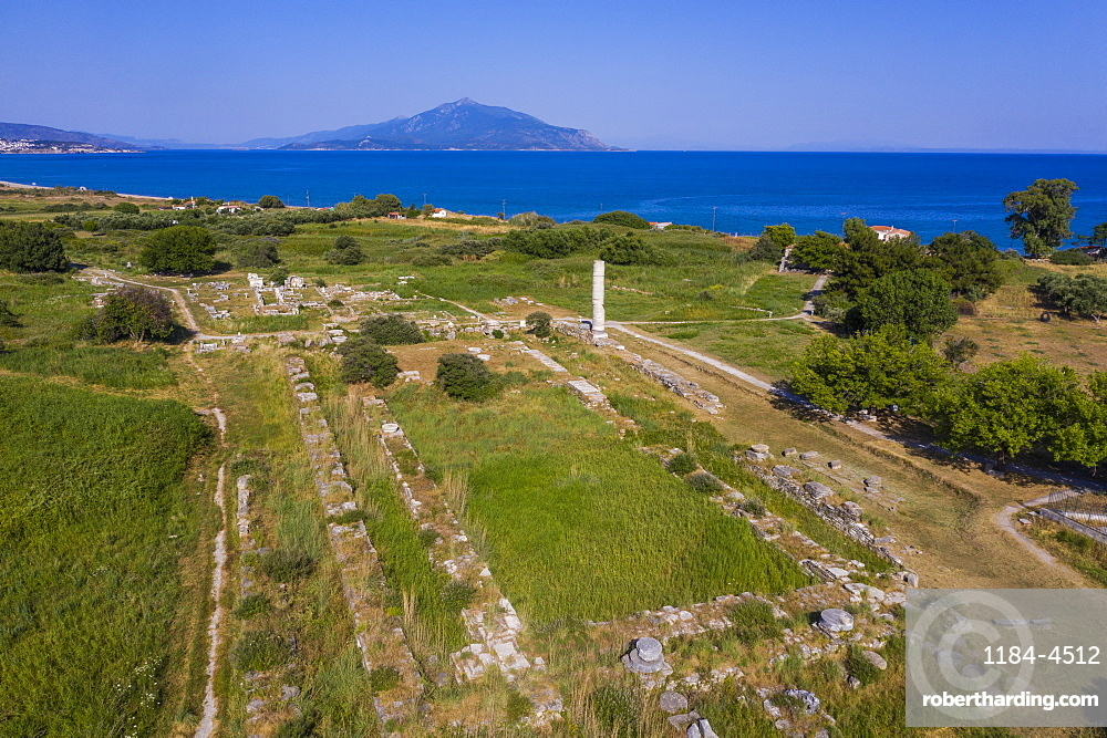 Aerial of the Unesco world heritage site, Heraoin of Samos, Greece (drone)