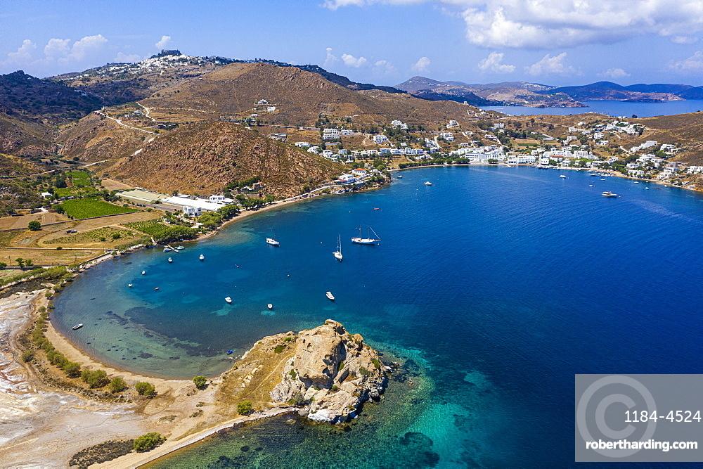 Aerial of the bay of Grikos, Patmos, Greece (drone)
