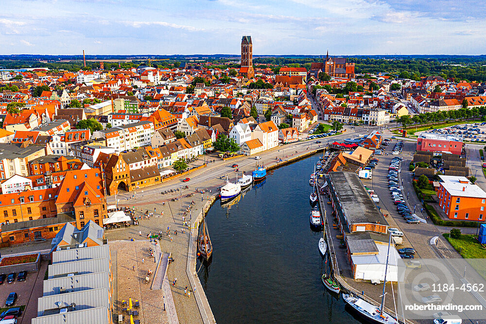 Aerial of the Hanseatic city of Wismar, UNESCO World Heritage Site, Mecklenburg-Vorpommern, Germany, Europe
