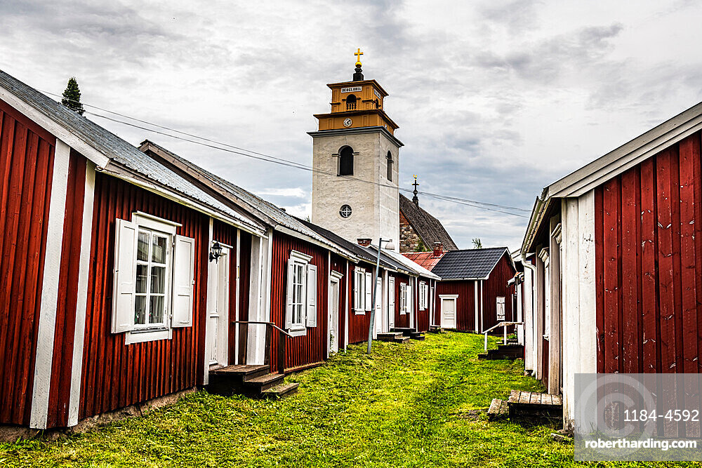 Red painted cottages, UNESCO World Heritage Site, Gammelstad Church Town, Lulea, Sweden, Scandinavia, Europe