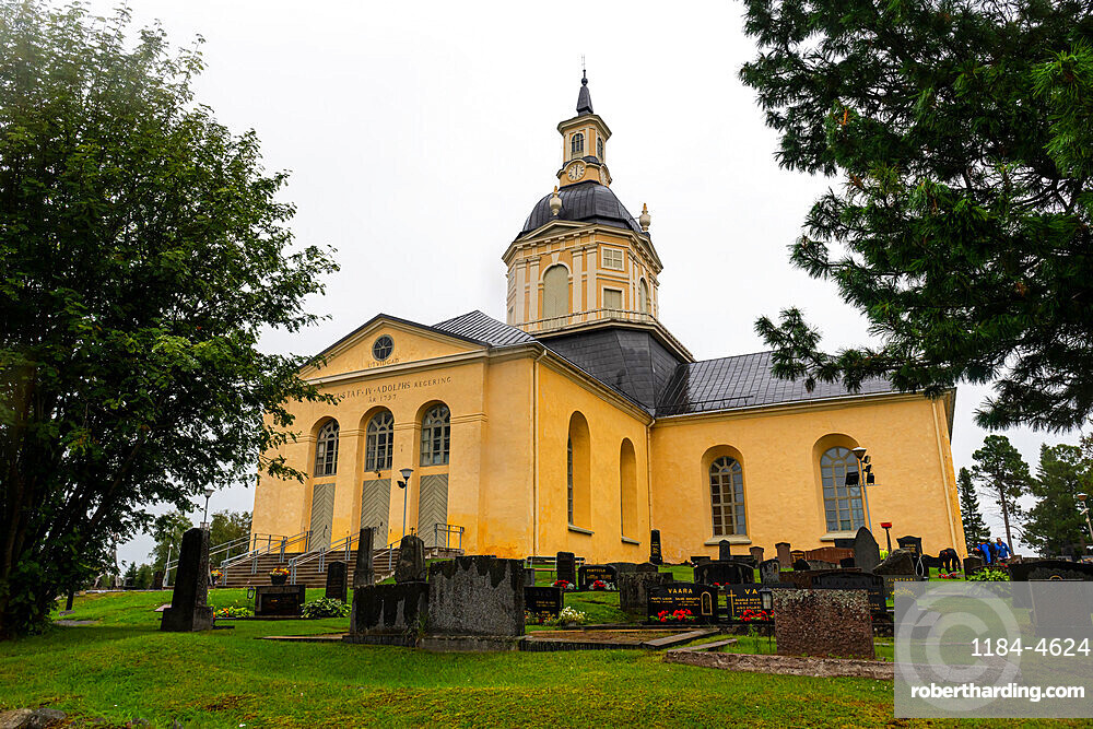 The Alatornio Church exterior and a point in the Struve Geodetic Arc, UNESCO World Heritage Site, Kemi, Finland, Europe