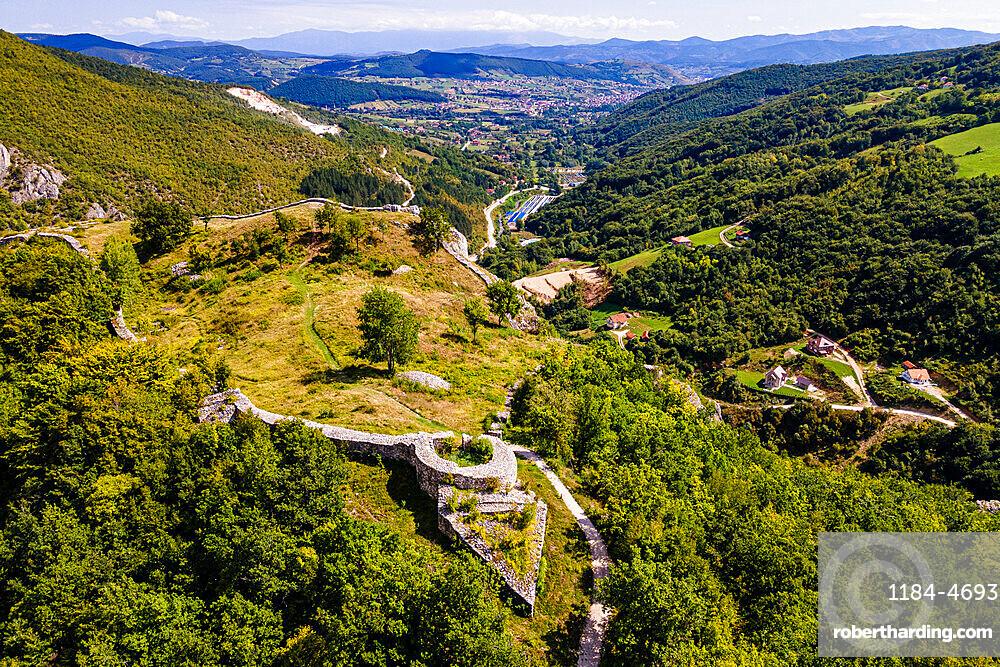 Aerial of Stari Ras Castle, Novi Pazar, Serbia, Europe