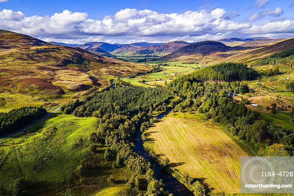 Aerial of the beautiful scenery around Dalnaglar Castle, Glenshee, Perthshire, Scotland, United Kingdom, Europe