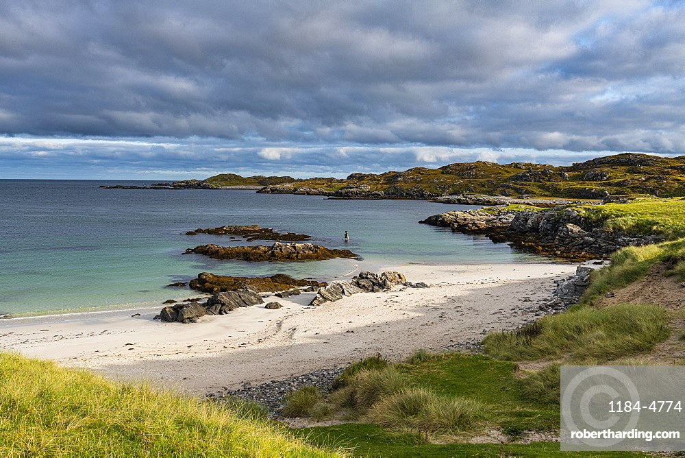 White sand and turquoise water at Bosta Beach, Isle of Lewis, Outer Hebrides, Scotland, United Kingdom, Europe