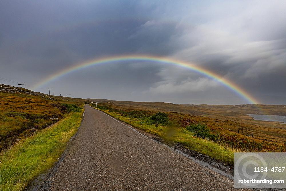 Rainbow over the N500 (NC500) (North Coast 500), Scotland, United Kingdom, Europe