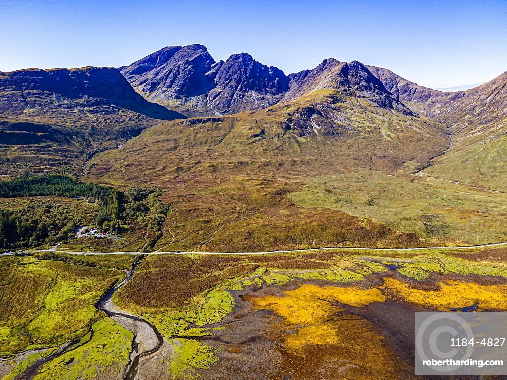 Aerial of the Black Cuillin ridge, Elgol, Isle of Skye, Inner Hebrides, Scotland, United Kingdom, Europe