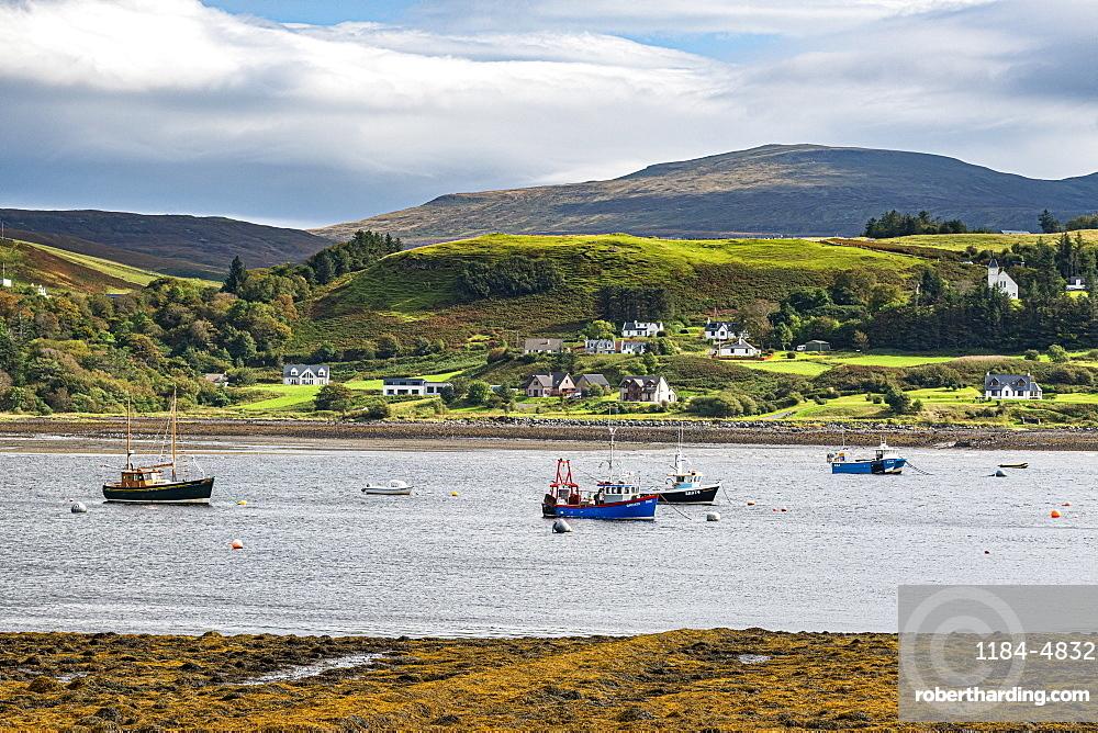View over the bay of Uig, Isle of Skye, Inner Hebrides, Scotland, United Kingdom, Europe