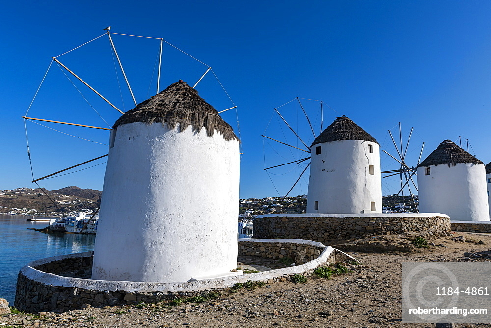 The Windmills (Kato Milli), Horta, Mykonos, Cyclades, Greek Islands, Greece, Europe