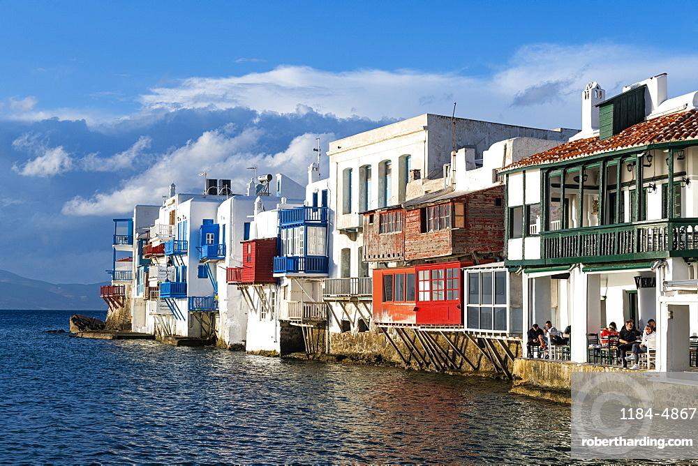 Little Venice, Horta, Mykonos, Cyclades, Greek Islands, Greece, Europe