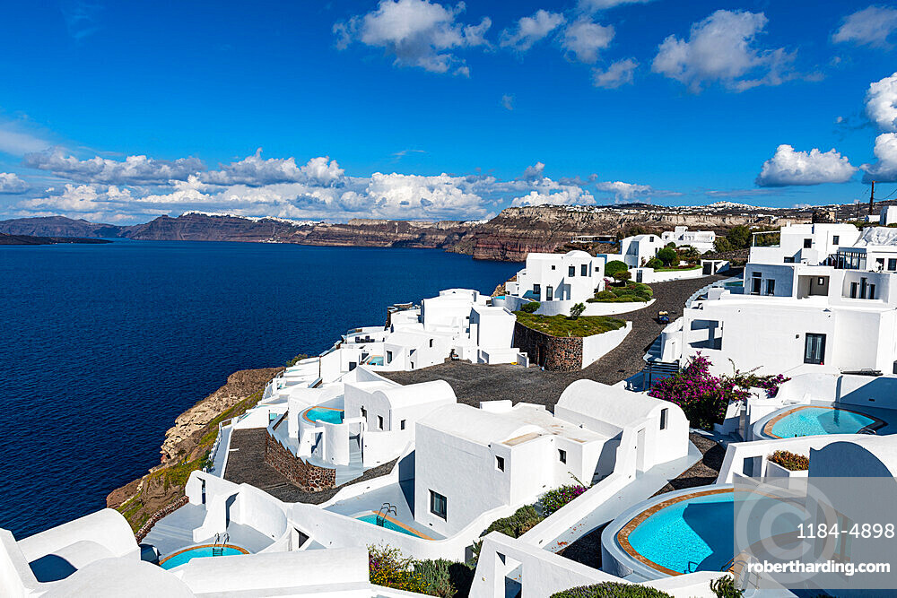 Luxury hotel on the crater rim, Santorini, Greece