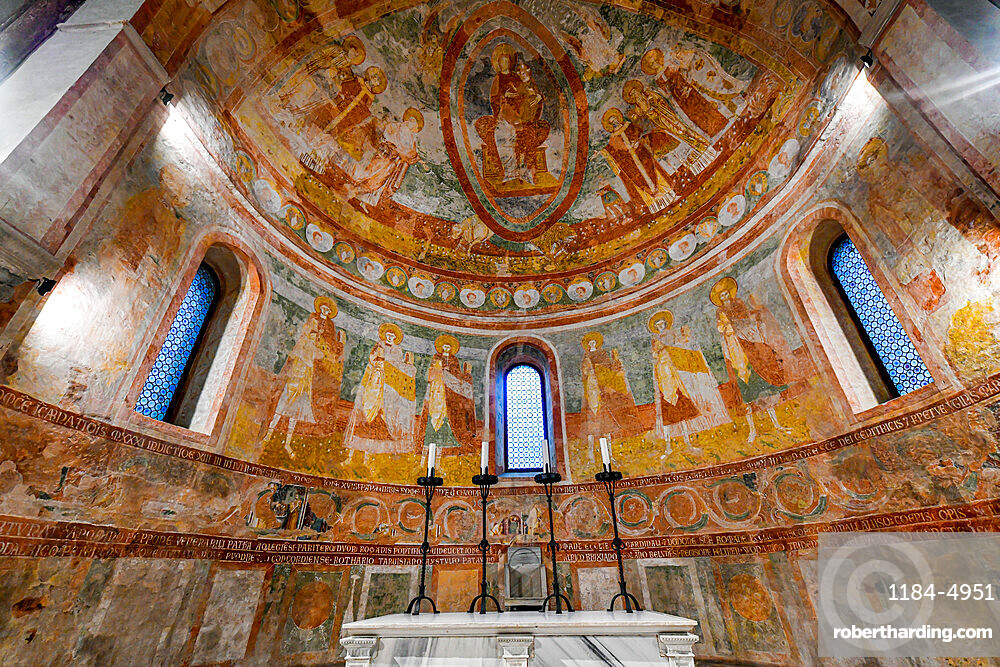 Colourful Frescoes in the cathedral of the Unesco world heritage site Aquileia, Italy