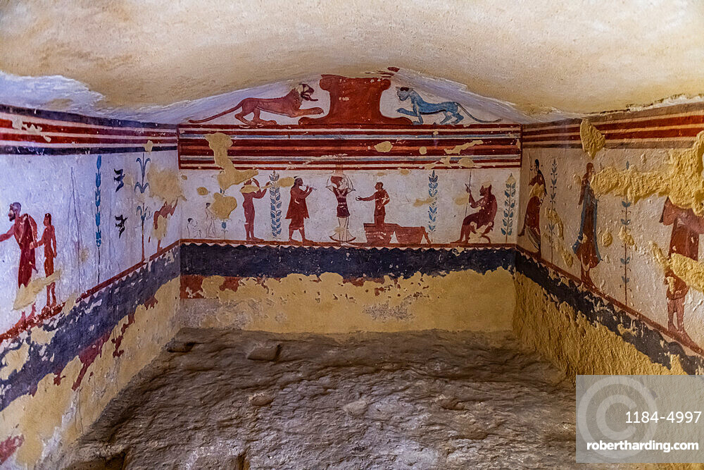 Beautiful wall paintings in the Necropolis of Tarchuna, Unesco world heritage site Tarquinia, Italy