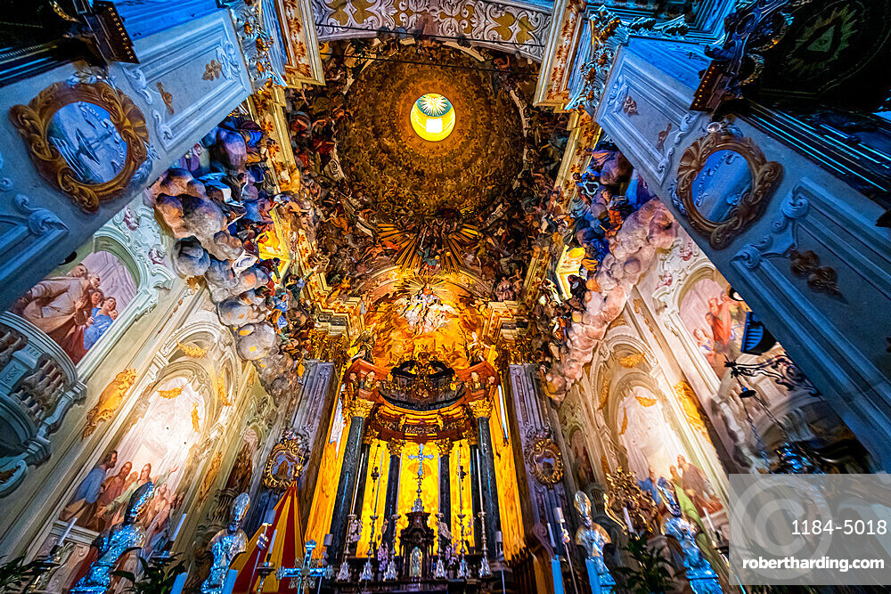 Interior of the Basilica di Santa Maria Assunta, Unesco world heritage site Sacro Monte de Varallo, Italy