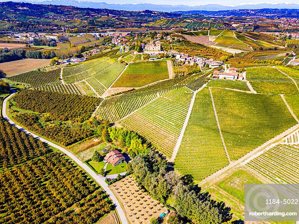 Aerials of the wineyards around Castle of Grinzane Cavour, Unesco world heritage site Piedmont, Italy