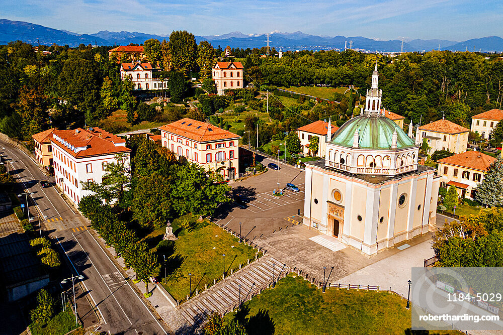 Aerial of the Unesco world heritage site 'company town'. Crespi d´Adda,, Italy