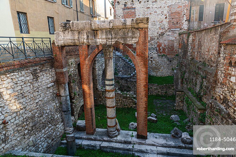 Old roman ruins, Piazza del Foro, Unesco world heritage site Brescia, Italy