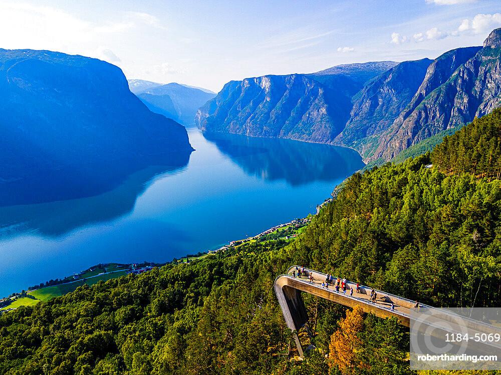 Vieing plattform Stegastein overlooking Aurlandsfjord, Aurland, Norway