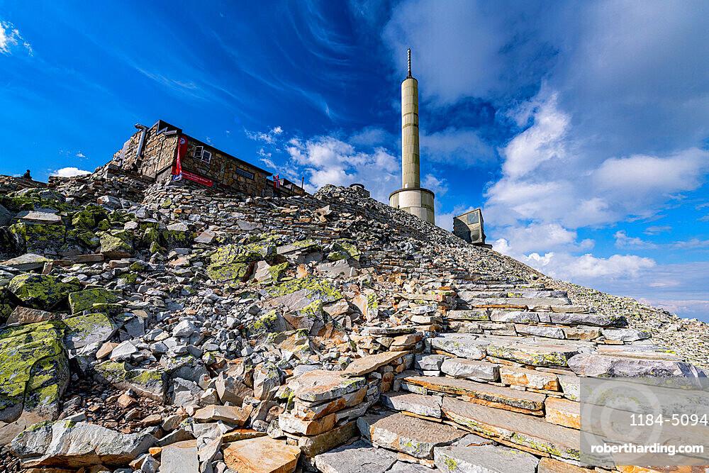 Summit installation on Gausta or Gaustatoppen highest mountain in Norway, Telemark, Norway