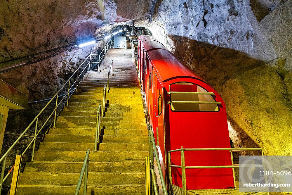Funicular railway in Gausta or Gaustatoppen highest mountain in Norway, Telemark, Norway