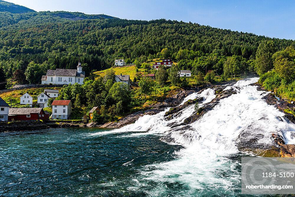 Hellesyltfossen waterfall, Flam, Geirangerfjord, Sunmore, Norway