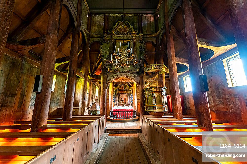 Interior of Kaupanger Stave Church, Kaupanger, Vestland, Norway