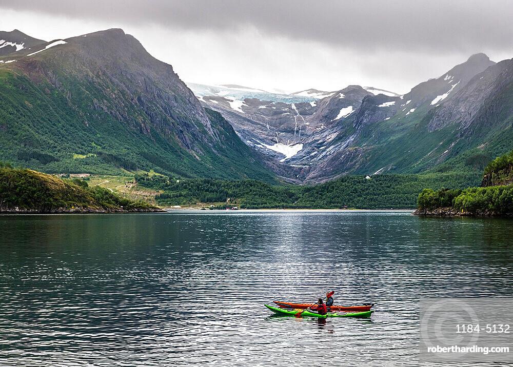 Kayaking before Svartisen glacier, Foroy, Kystriksveien Coastal Road, Norway