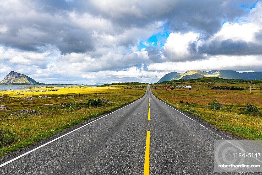 Long straight road, Lofoten, Norway
