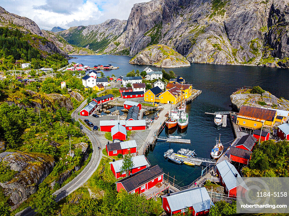 Aerial of the village of Nusfjord, Lofoten, Norway