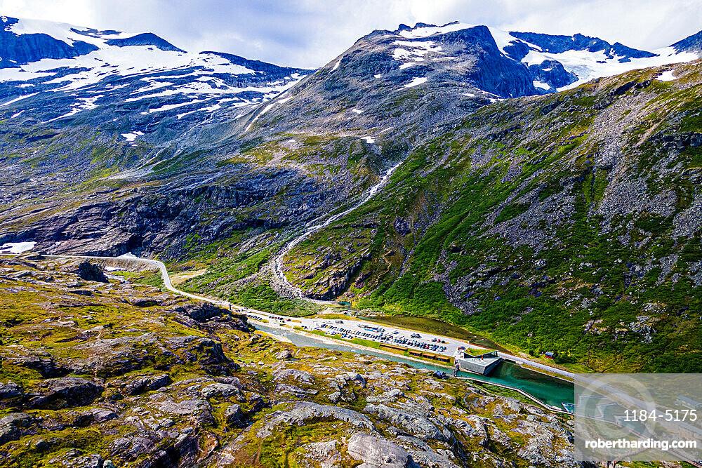 Trollstigen mountain road from the air, Norway
