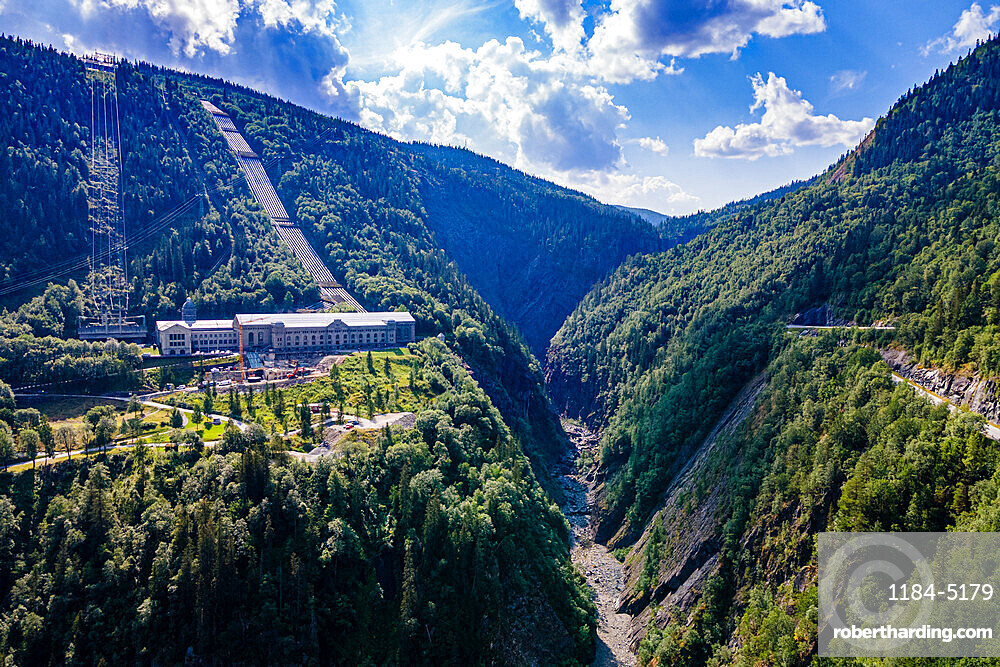 Aerial of the Hydroelectric power station, Unesco world heritage Industrial site Rjukan-Notodden, Norway