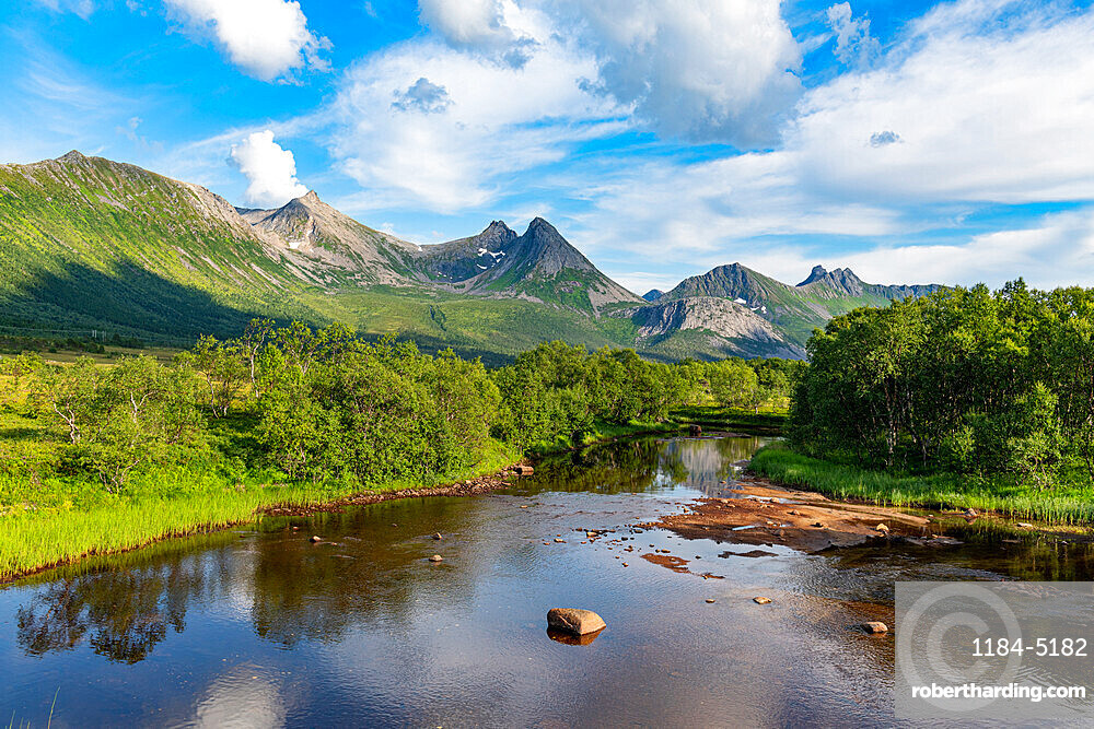 Beautiful river in the mountains of Andenes, Senja scenic road, Norway