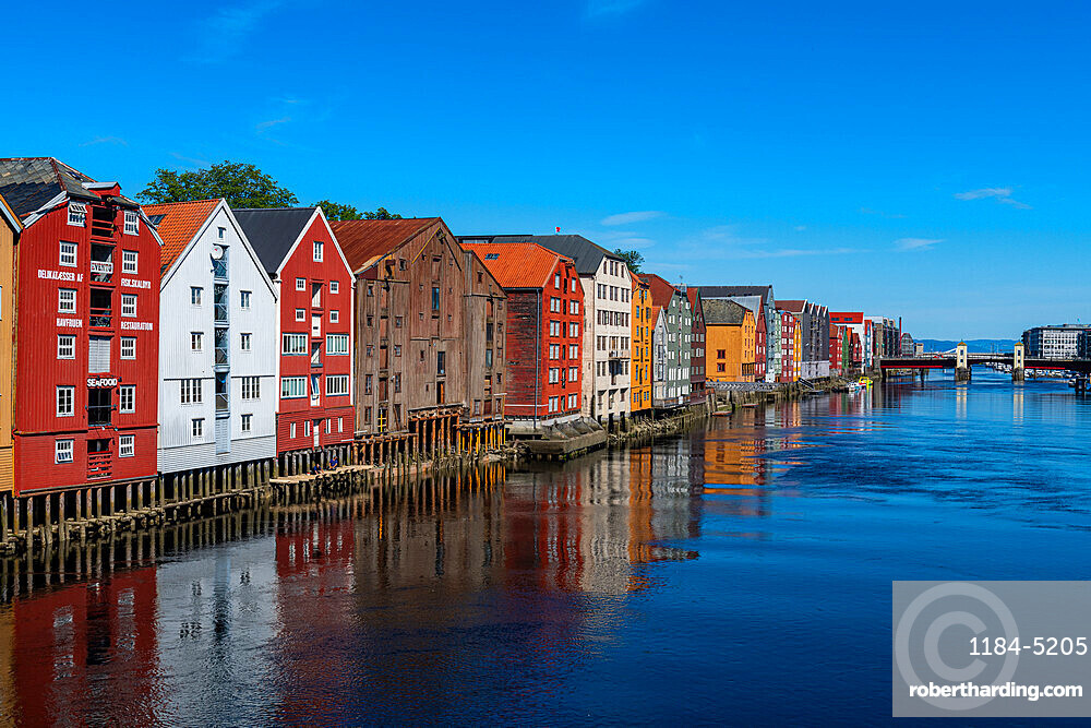 Old storehouses along the Nidelva, Trondheim, Norway