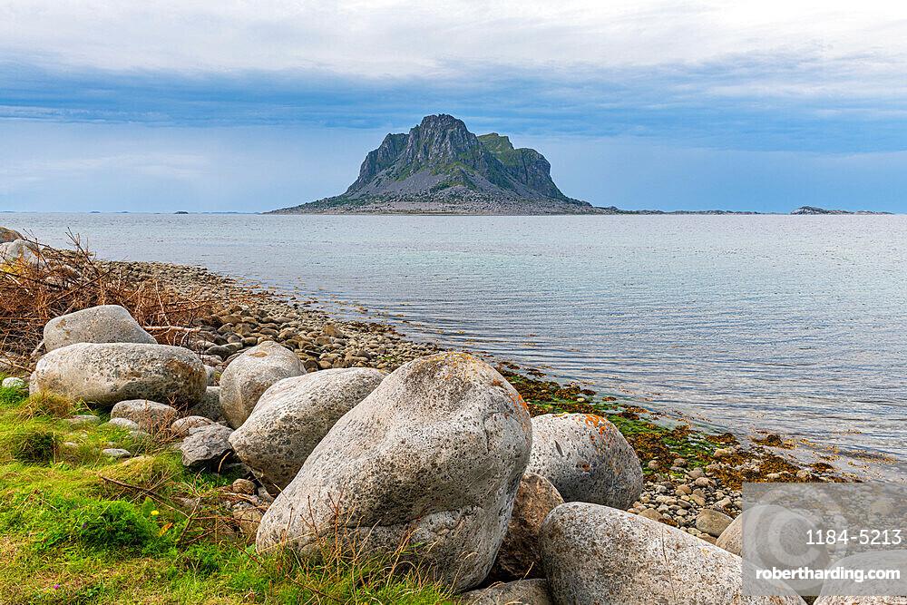 Huge monolith in the Unesco world heritage site, the Vega Archipelago, Norway