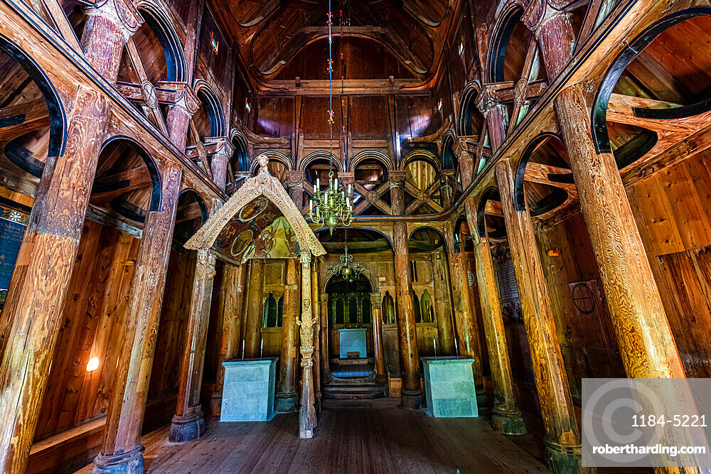 Interior of the Hopperstad Stave Church, Vikoyri, Norway