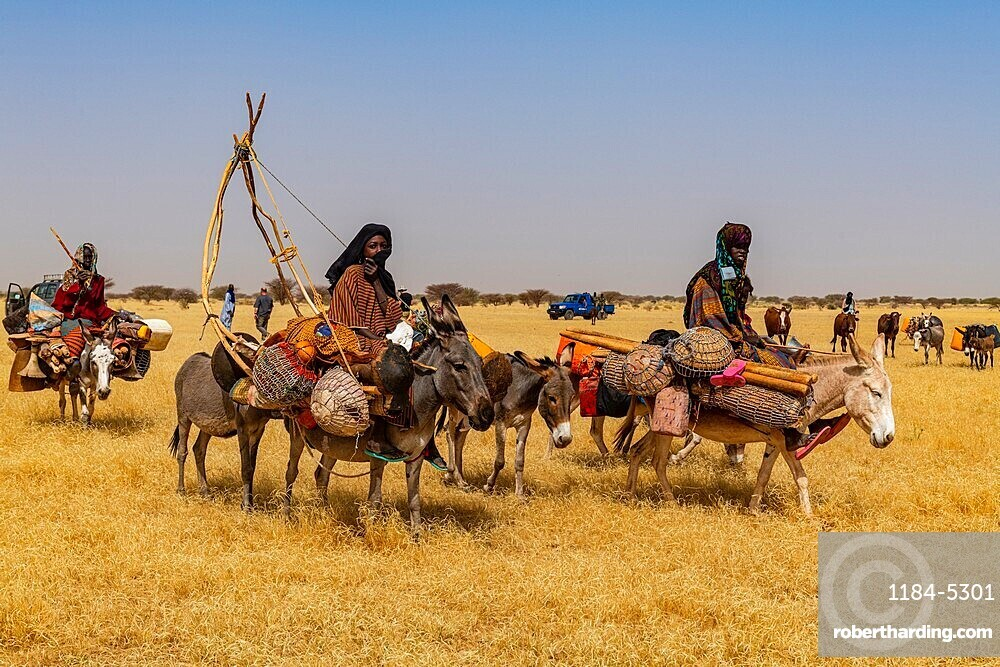 Peul woman with her children on their donkeys in the Sahel, Niger