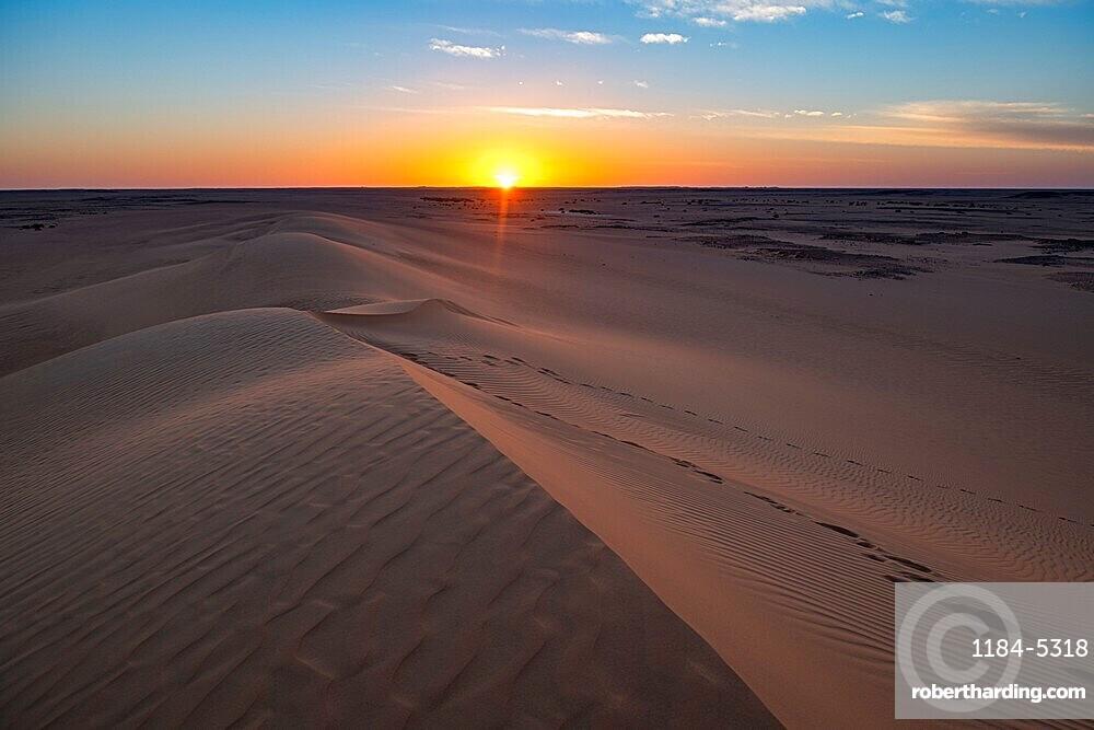 Sunset over the sand dunes, Djado Plateau, Niger