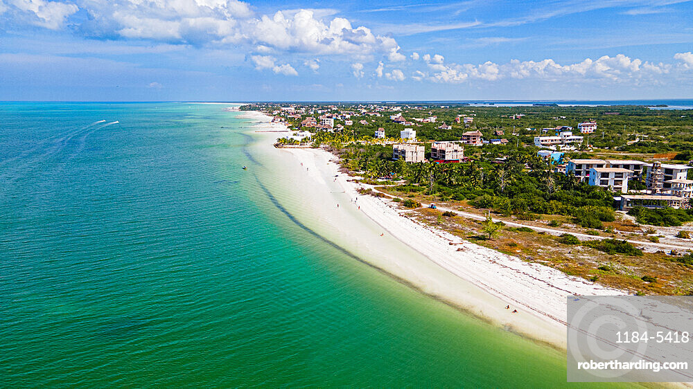 Aerial of the turquoise waters and white sands of Holbox island, Yucatan, Mexico, North America