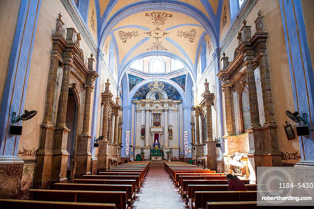 Interior of Santiago de Jalpan, UNESCO World Heritage Site, Franciscan Missions in the Sierra Gorda of Queretaro, Mexico, North America