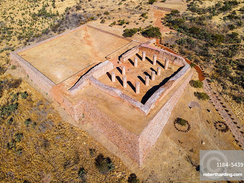 Aerial of the archaeological site of La Quemada (Chicomoztoc), Zacatecas, Mexico, North America