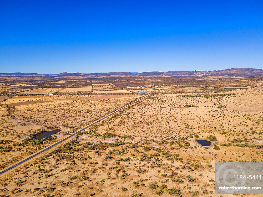Aerial of the desert at the archaeological site of La Quemada (Chicomoztoc), Zacatecas, Mexico, North America