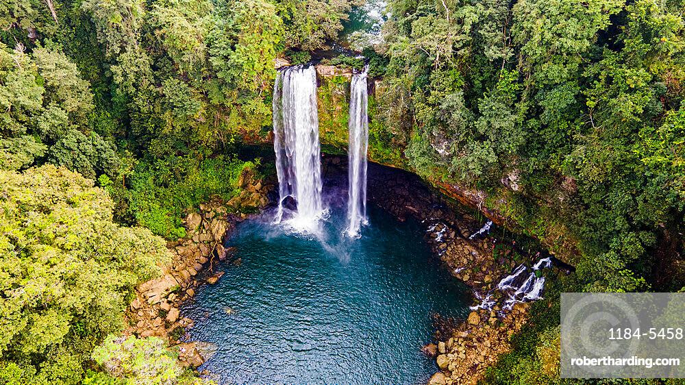 Aerial of Misol Ha waterfall, Chiapas, Mexico, North America