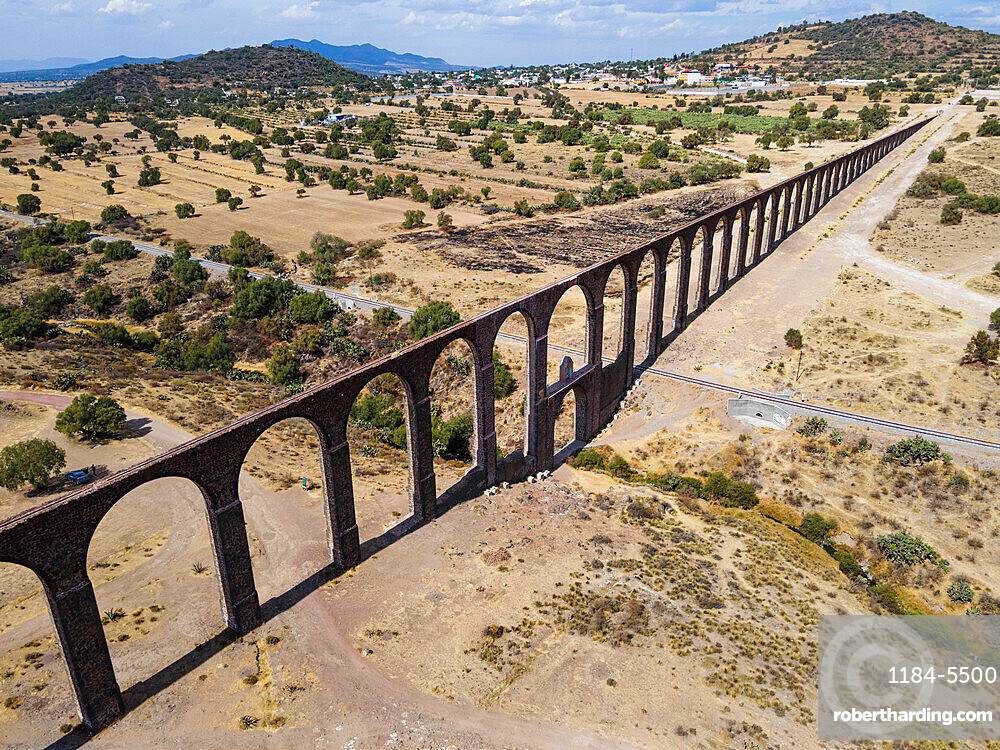 Aerial of the Unesco site, Aqueduct of Padre Tembleque, Mexico state, Mexico