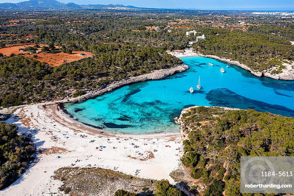 Aerial of Parc Natural de Mondrago, Mallorca (Majorca), Balearic Islands, Spain, Mediterranean, Europe