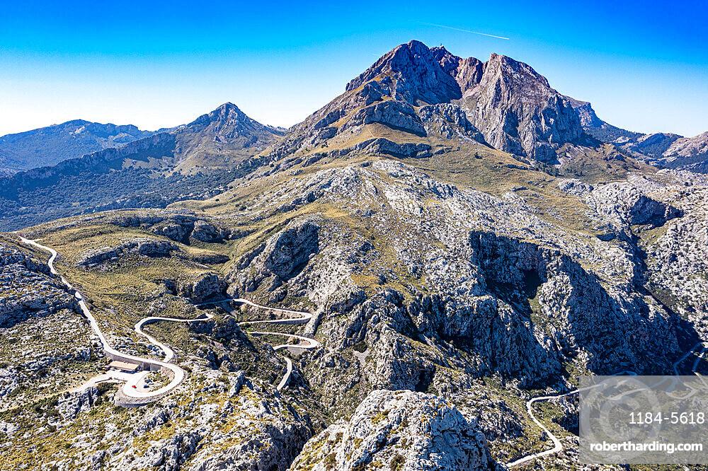 Aerial of the rocky Tramuntana mountains, UNESCO World Heritage Site, Mallorca (Majorca), Balearic Islands, Spain, Europe